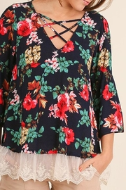 Umgee USA Rose-Print Lace-Hem Top - Product Mini Image