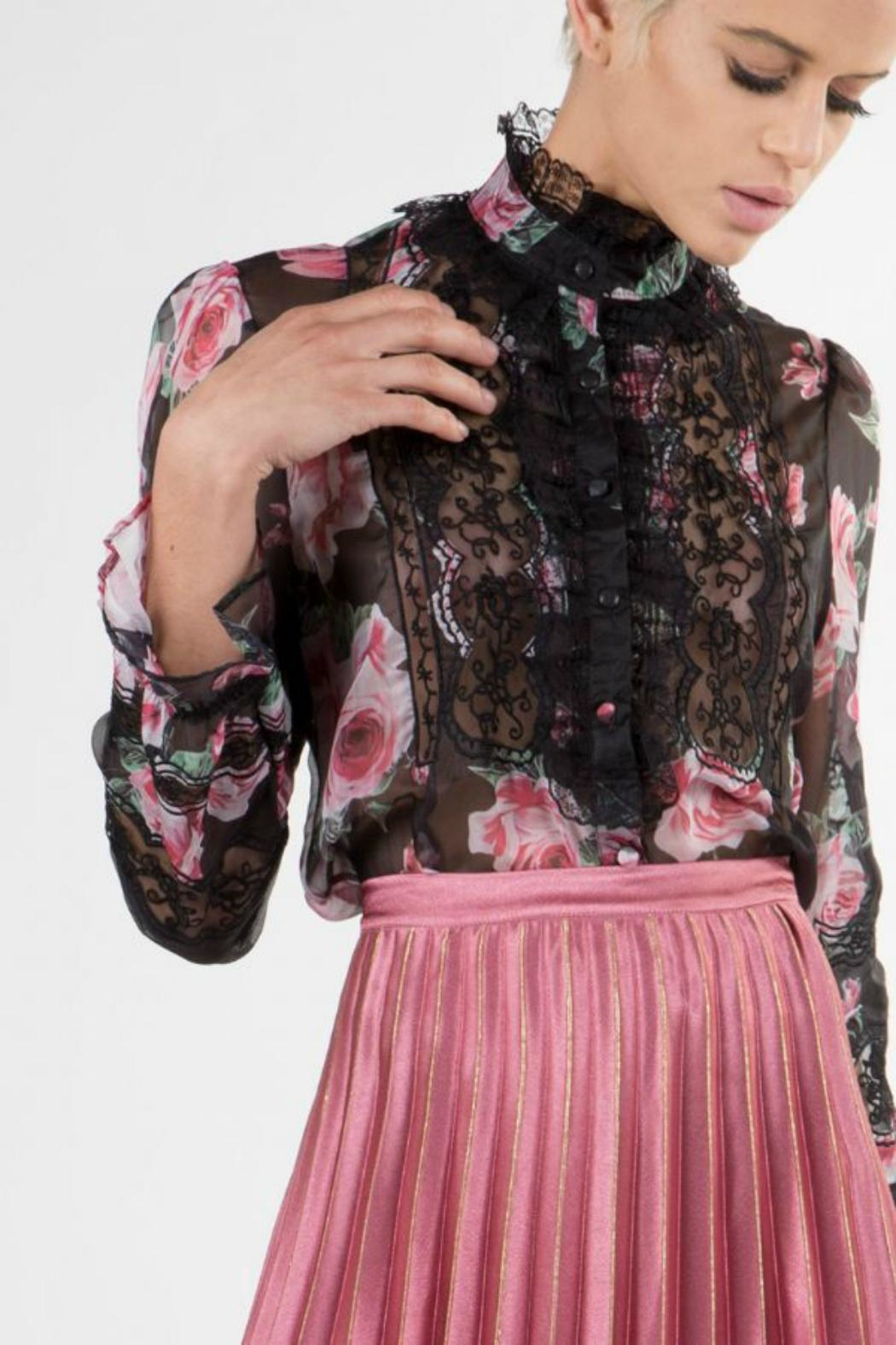 BEULAH STYLE Rose Print Top - Front Cropped Image