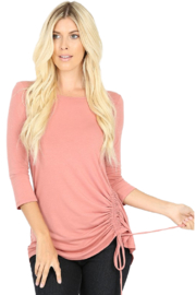 Zenana Rose Side Ruched Top - Product Mini Image