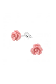 Silver Jewels Rose Silver Stud Earrings - Front cropped