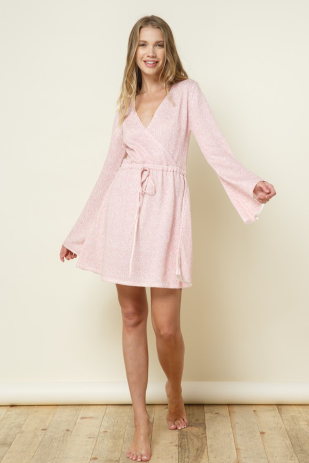 Late Night Apparel Rose Thin Knitted Printed Bell Sleeve Mini Dress - Main Image