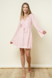 Late Night Apparel Rose Thin Knitted Printed Bell Sleeve Mini Dress - Product Mini Image