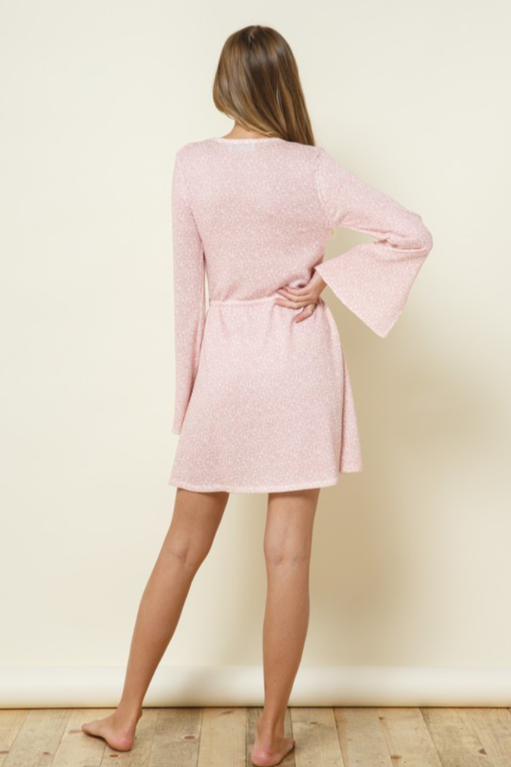 Late Night Apparel Rose Thin Knitted Printed Bell Sleeve Mini Dress - Front Full Image
