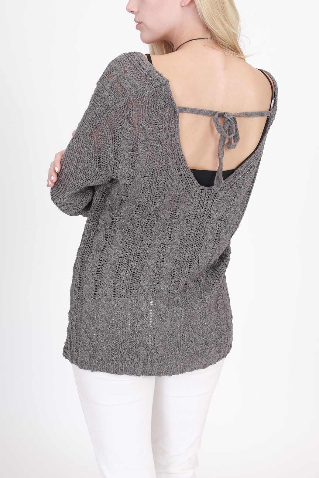 Rose & Eye Cassie Cable Sweater - Side Cropped Image