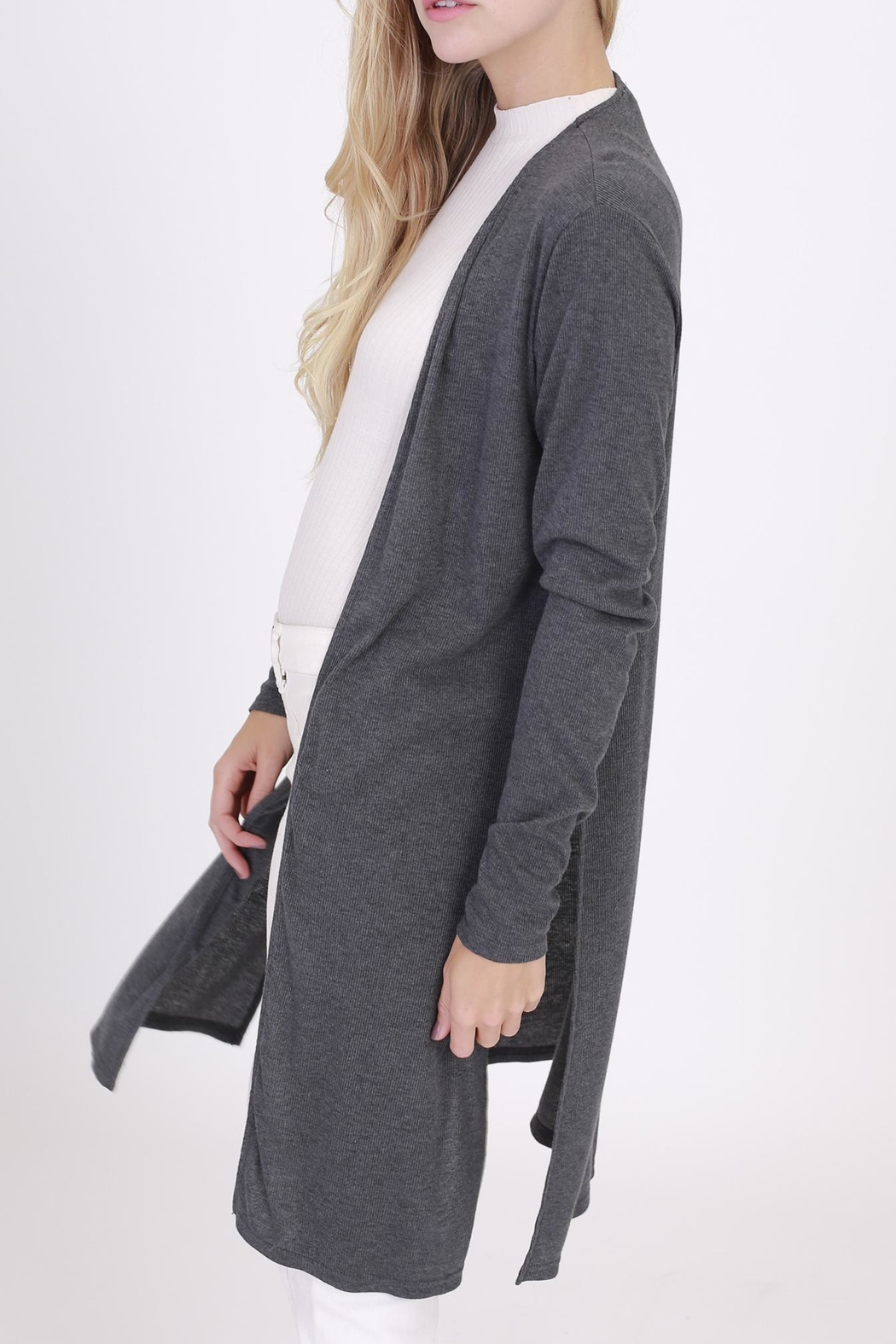 Rose & Eye Charcoal Duster Knit - Front Full Image