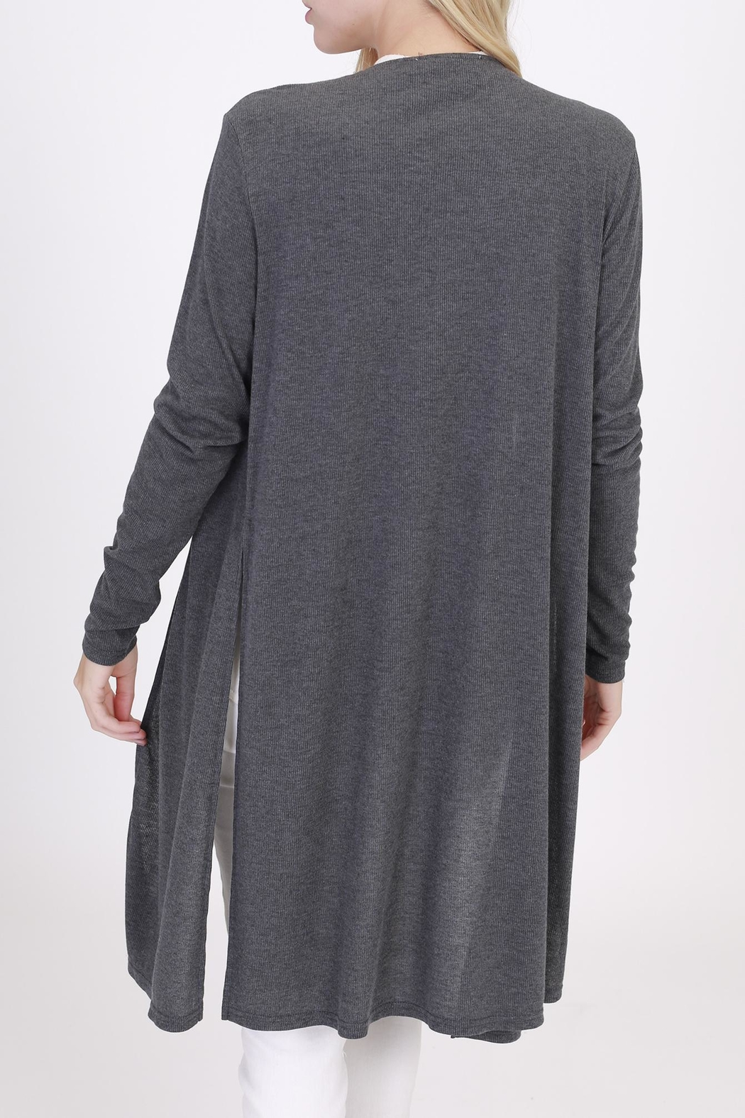 Rose & Eye Charcoal Duster Knit - Side Cropped Image