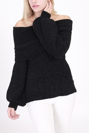 Rose & Eye Chenille Black Sweater - Front cropped