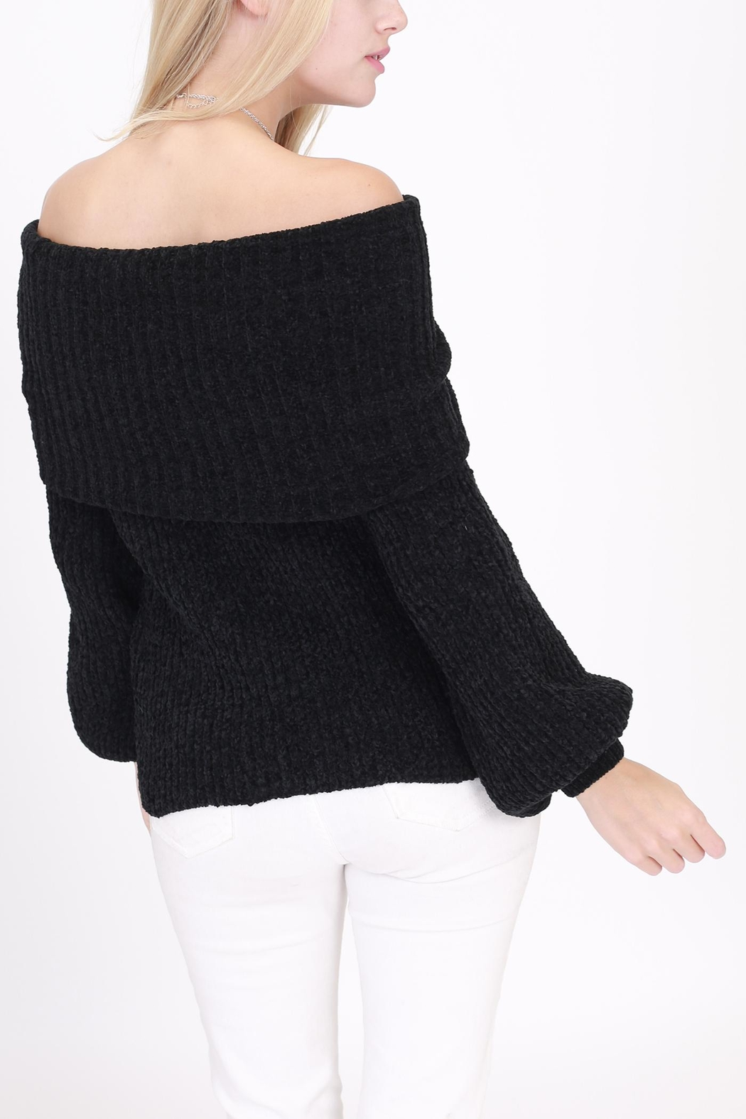 Rose & Eye Chenille Black Sweater - Side Cropped Image