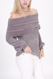 Rose & Eye Chenille Grey Sweater - Front cropped