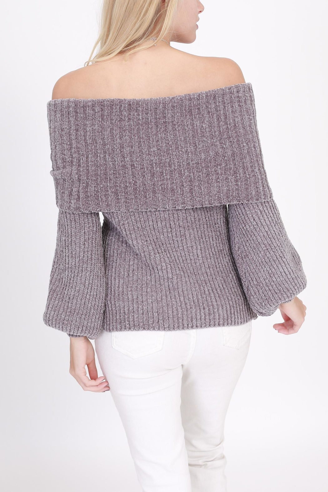 Rose & Eye Chenille Grey Sweater - Side Cropped Image