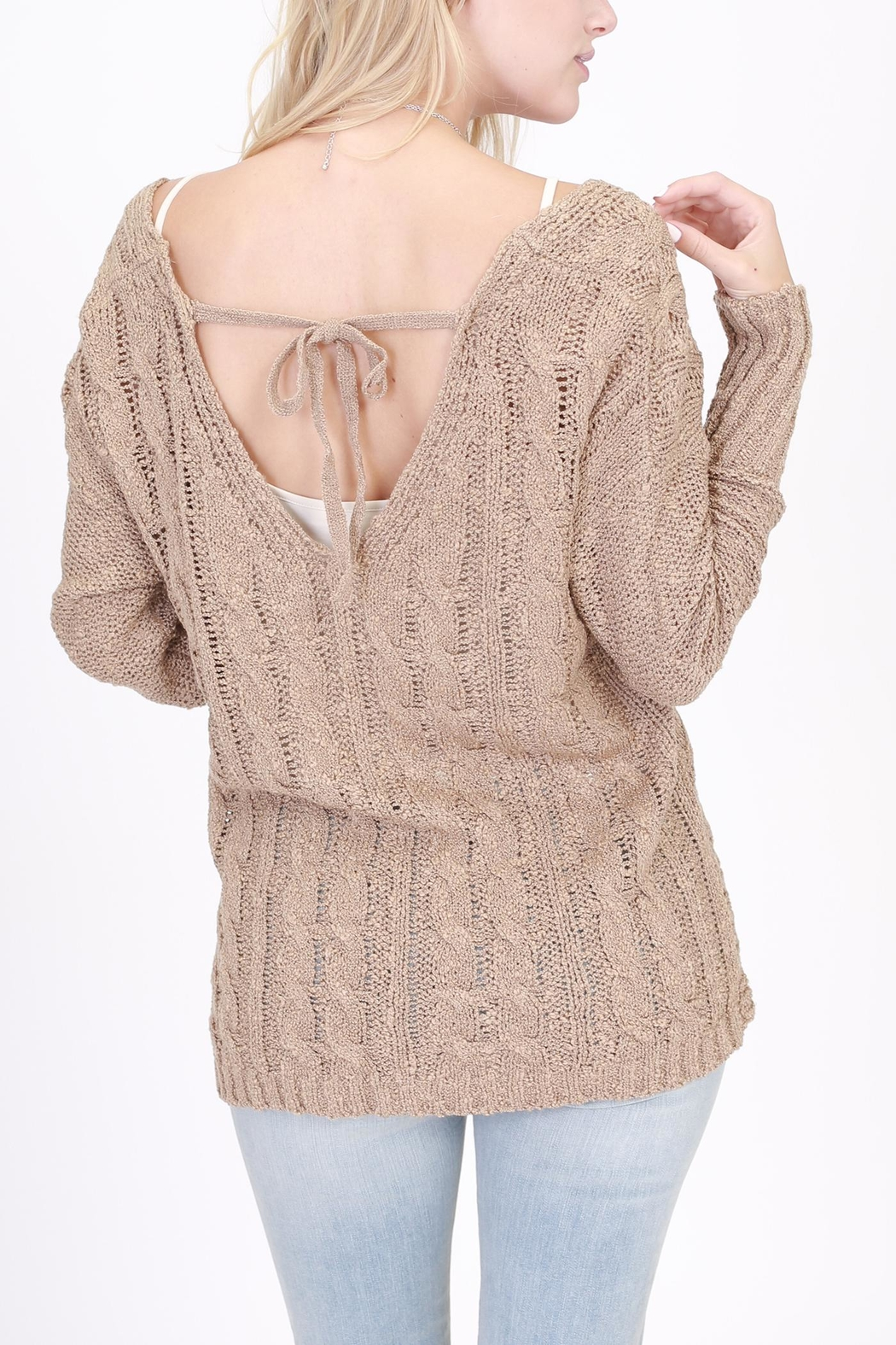 Rose & Eye Cross Cable Taupe Sweater - Side Cropped Image