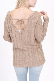 Rose & Eye Cross Cable Taupe Sweater - Side cropped