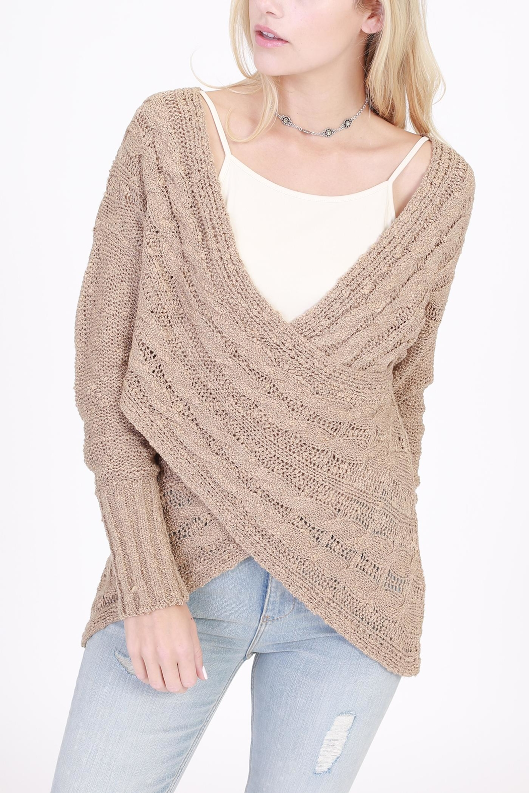 Rose & Eye Cross Cable Taupe Sweater - Main Image
