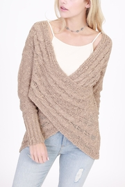 Rose & Eye Cross Cable Taupe Sweater - Front cropped