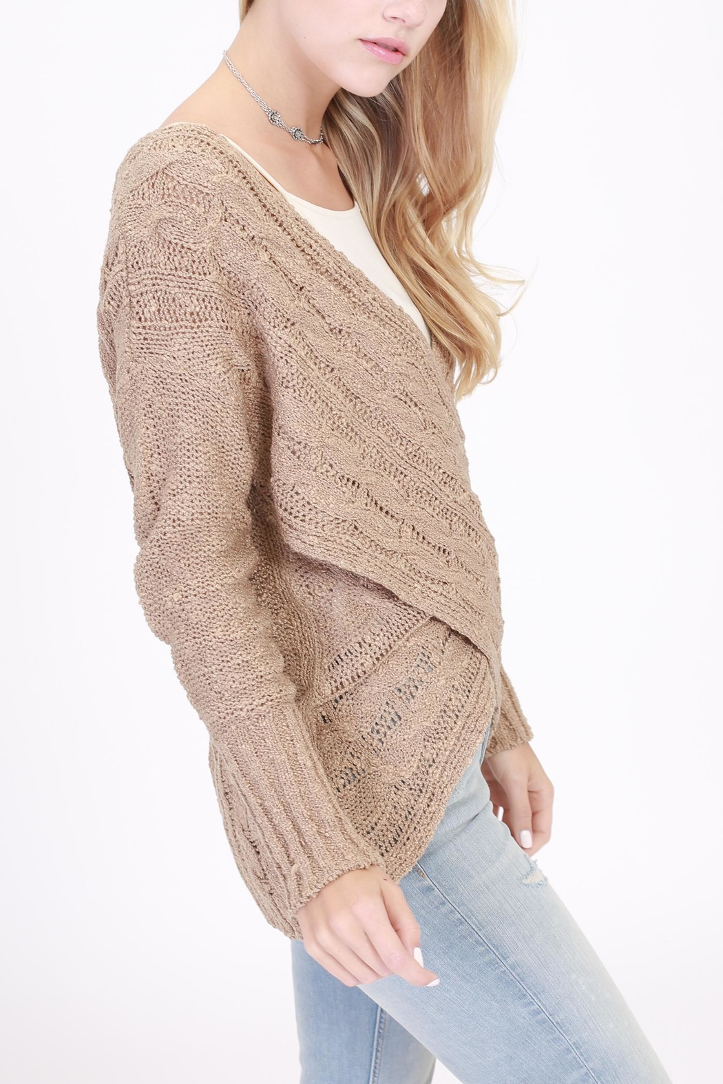 Rose & Eye Cross Cable Taupe Sweater - Front Full Image
