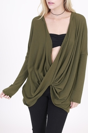 Rose & Eye Heater Olive Hoodie - Front cropped