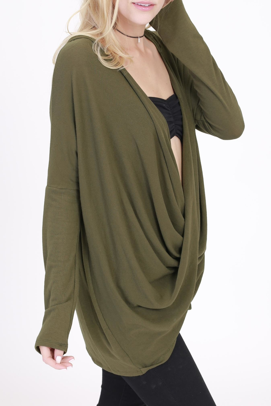 Rose & Eye Heater Olive Hoodie - Front Full Image