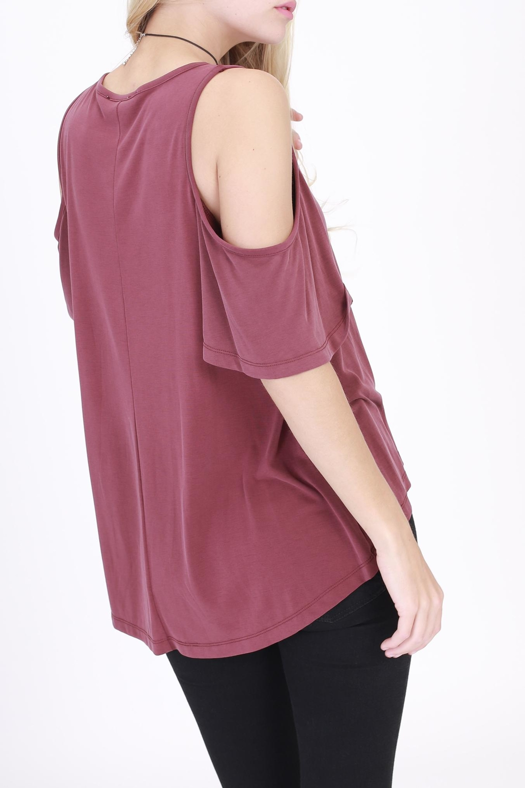 Rose & Eye Jodi Cold Shoulder Top - Front Full Image