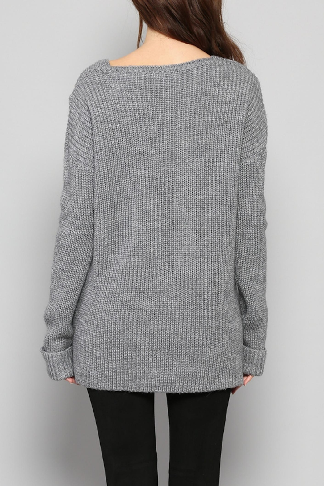 Rose & Eye Katie Cable Knit Top - Side Cropped Image