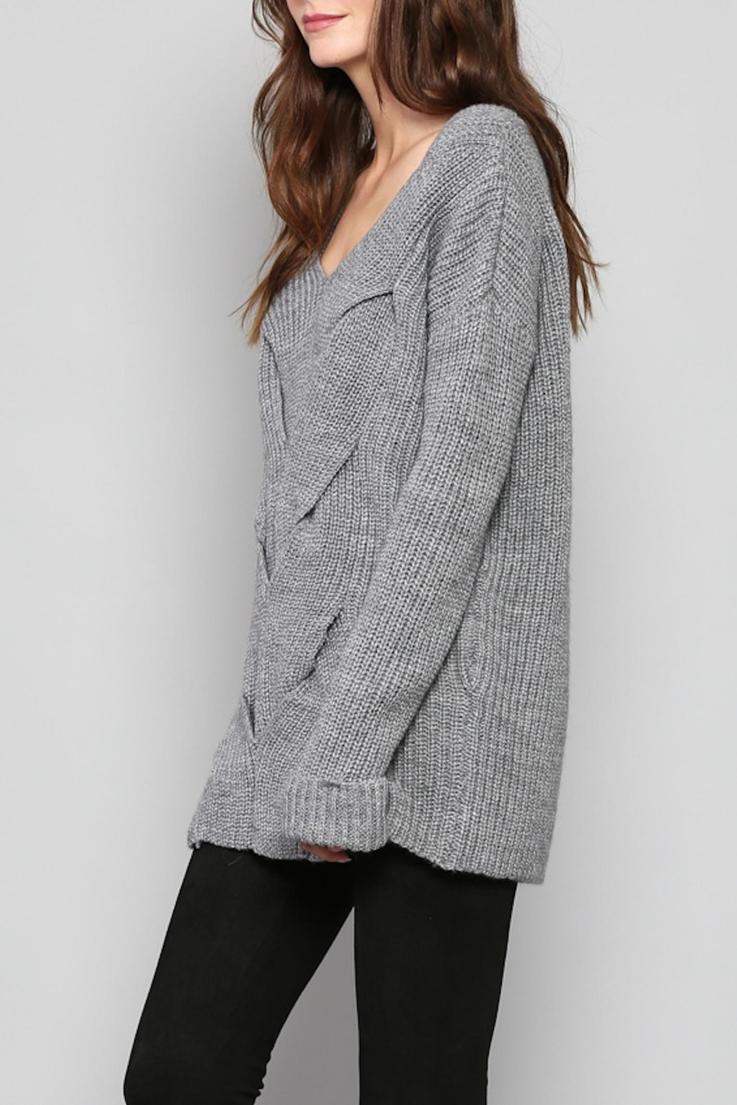 Rose & Eye Katie Cable Knit Top - Front Full Image