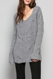 Rose & Eye Katie Cable Knit Top - Front cropped