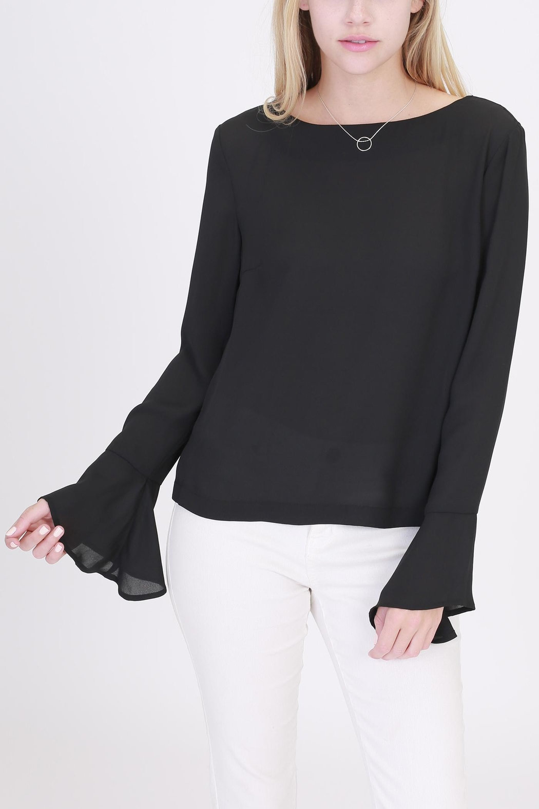 Rose & Eye Nanita Black Blouse - Side Cropped Image