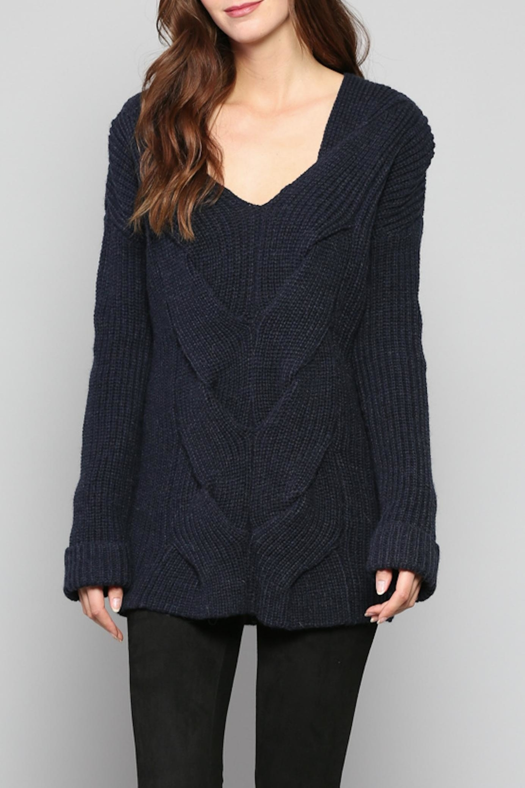 Rose & Eye Navy Cable Knit Top - Front Cropped Image