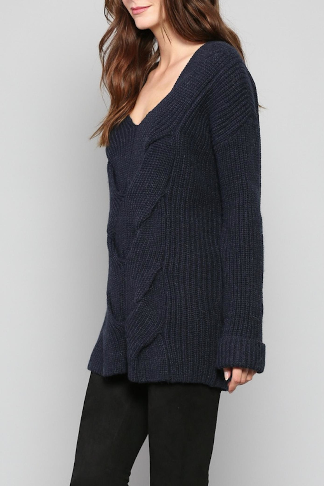 Rose & Eye Navy Cable Knit Top - Front Full Image