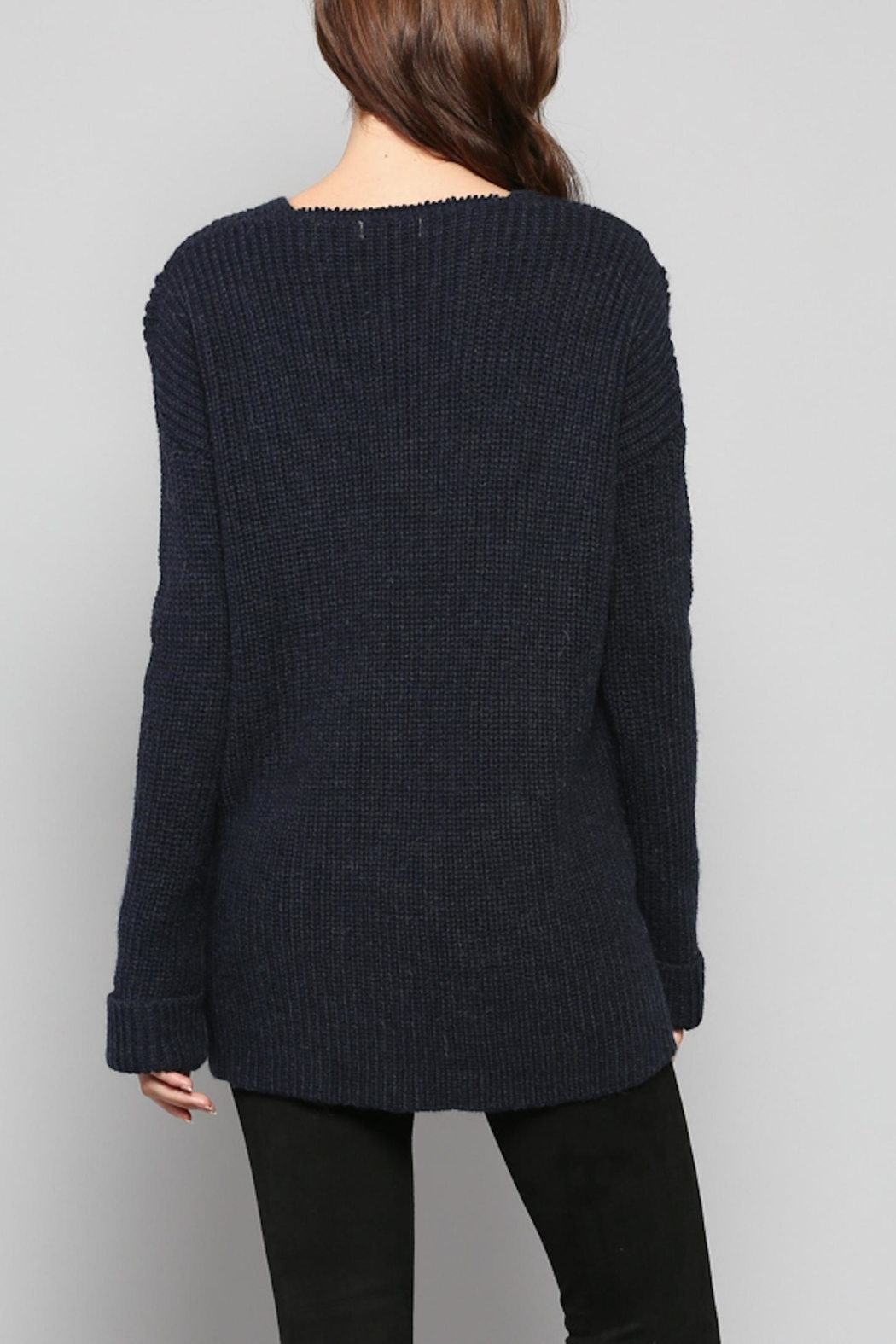 Rose & Eye Navy Cable Knit Top - Side Cropped Image