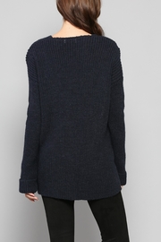 Rose & Eye Navy Cable Knit Top - Side cropped