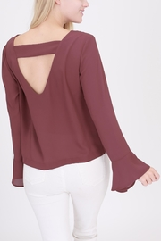 Rose & Eye Bell Sleeve Cut Out Blouse - Product Mini Image