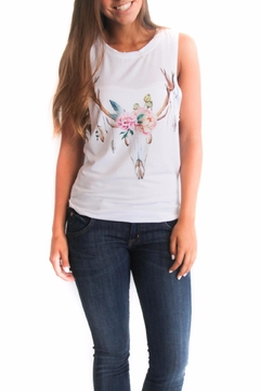 Rosemary Collective Flower Skull Tank Top - Product List Image