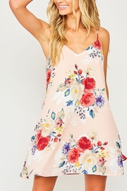 Peach Love California Roses In Bloom Mini Dress - Front cropped