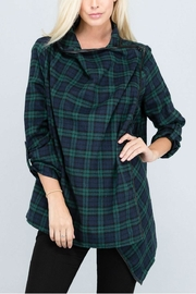 Rosette Longsleeve Plaid Cardigan - Product Mini Image