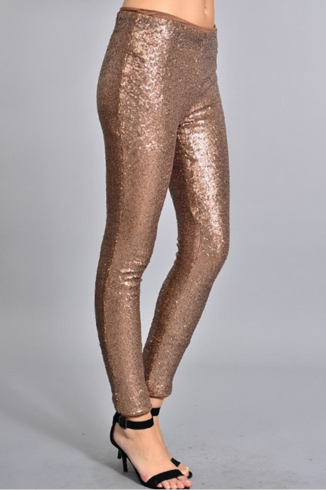Rosette Skinny Sequin Pants - Back Cropped Image