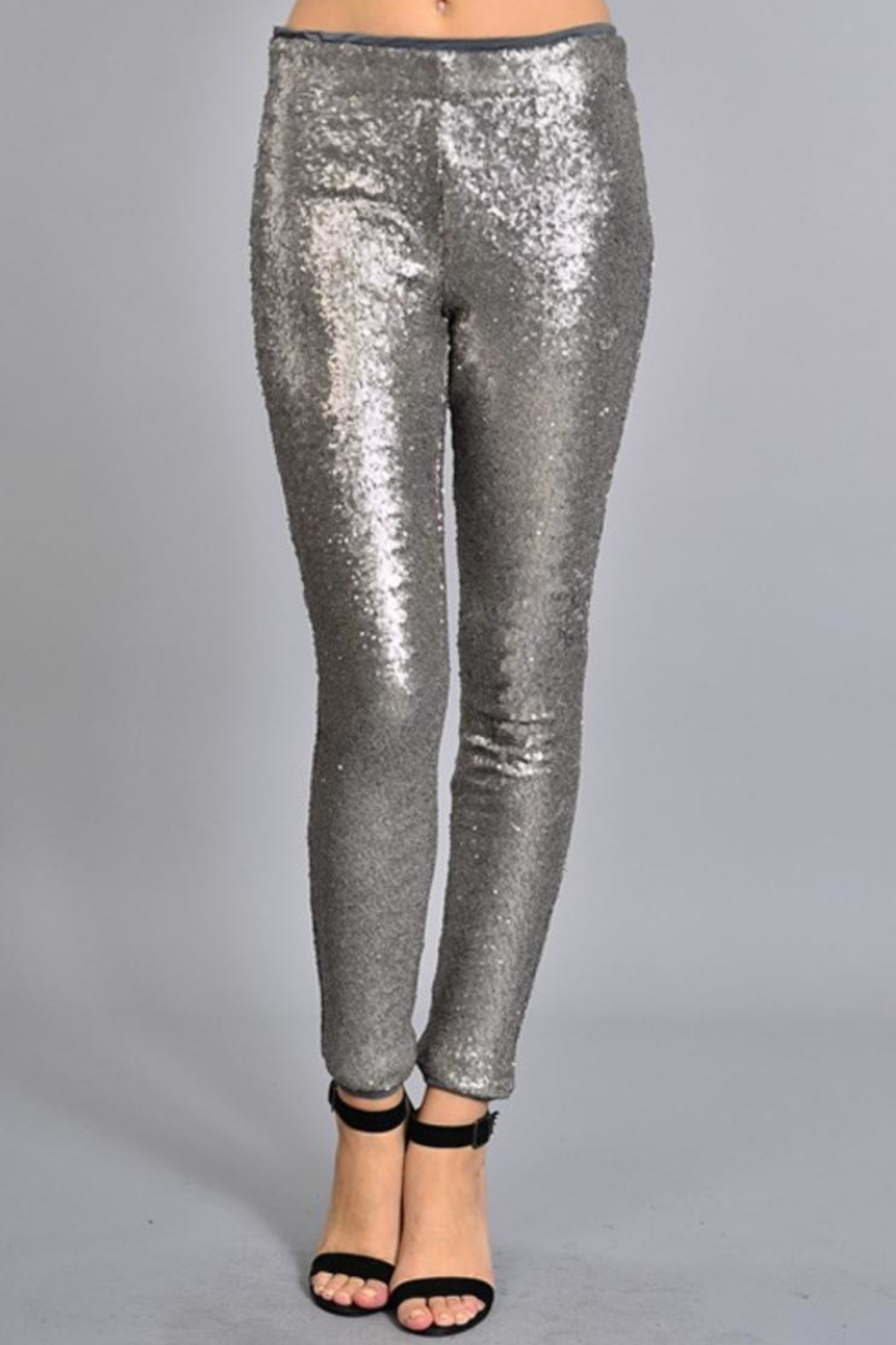 Rosette Skinny Sequin Pants - Front Cropped Image