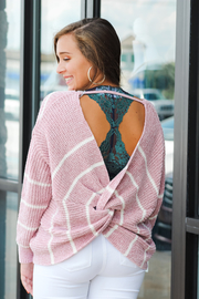She + Sky Rosey Cheeks Twist Back Sweater - Product Mini Image