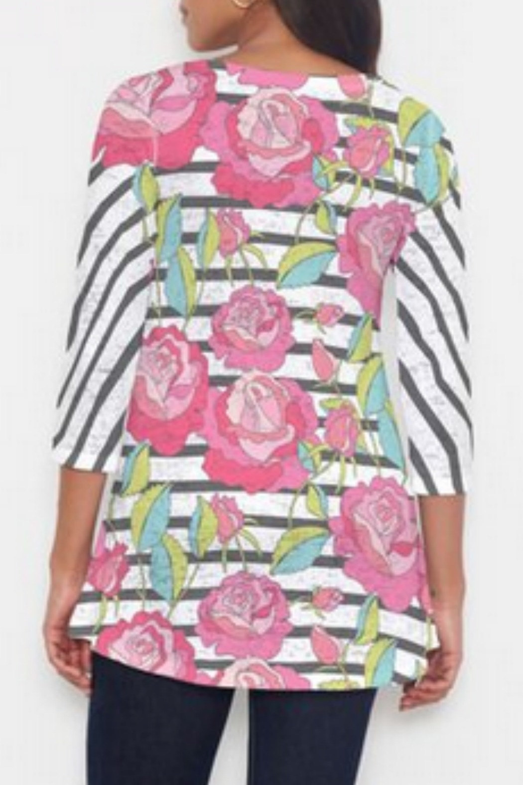 Whimsy Rose Rosie Stripe Hi-Lo Thermal - Front Full Image