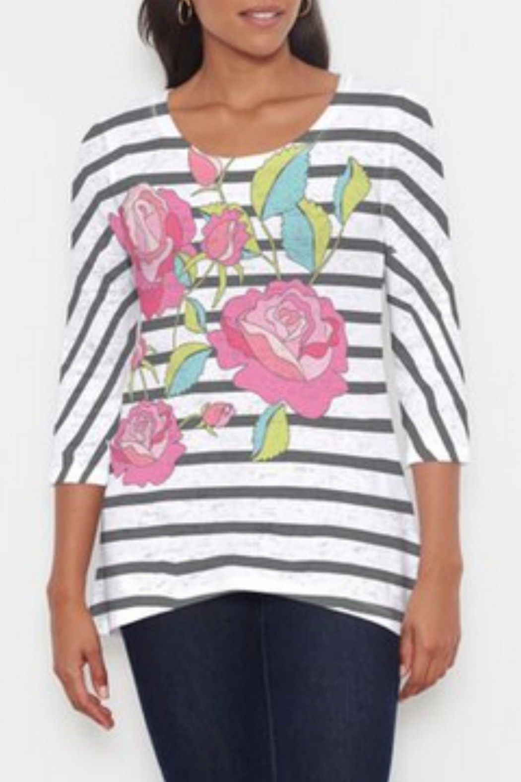 Whimsy Rose Rosie Stripe Hi-Lo Thermal - Front Cropped Image