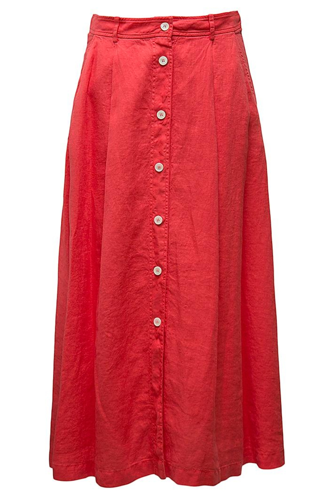 rosso 35 Red Linen Skirt - Front Cropped Image