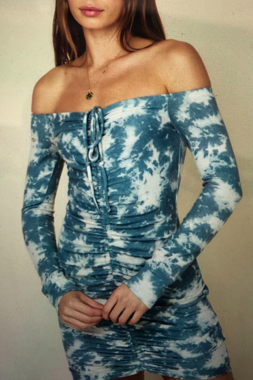 AAAAA Fashion  ROUCHED MINI DRESS - Front Cropped Image