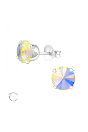 Silver Jewels Round 6mm La Crystale Stud Earrings - Front cropped