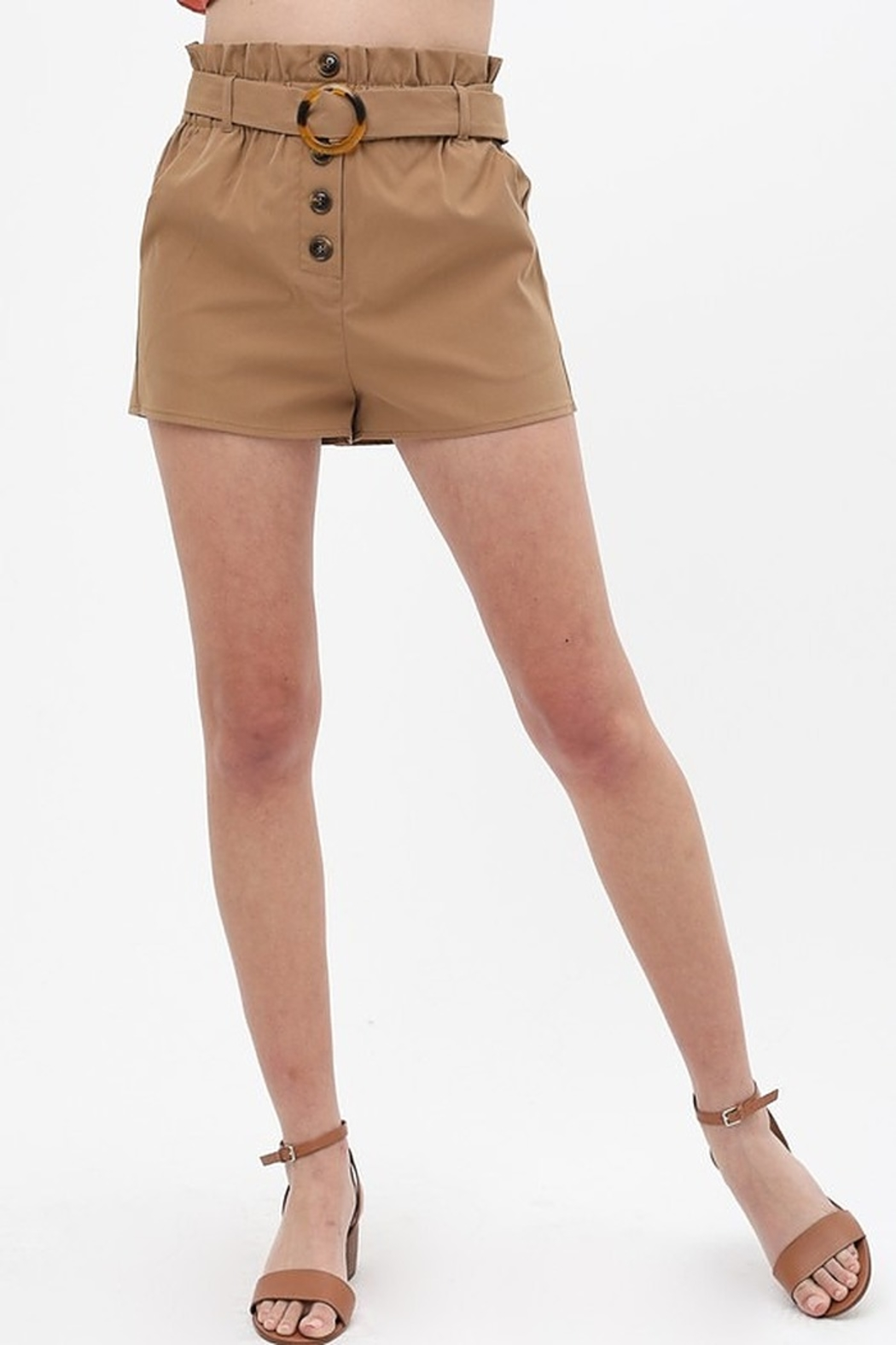 Love Tree  Round Buckle Shorts - Front Cropped Image