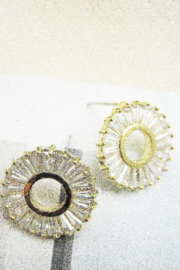 Fox Village Round Crystal Post Earring - Product Mini Image