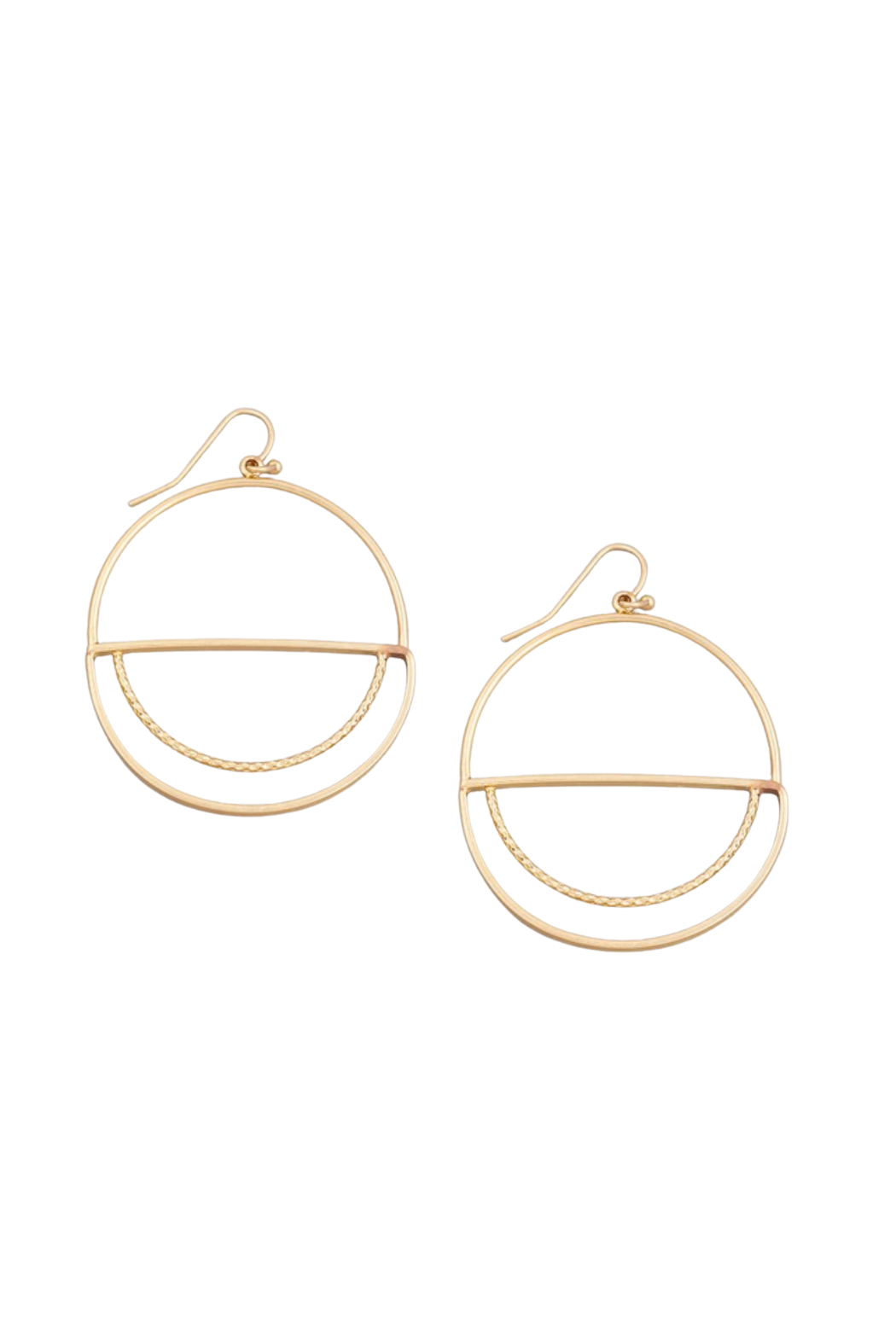 Fame Accessories Round Flat Drop Earrings - Main Image