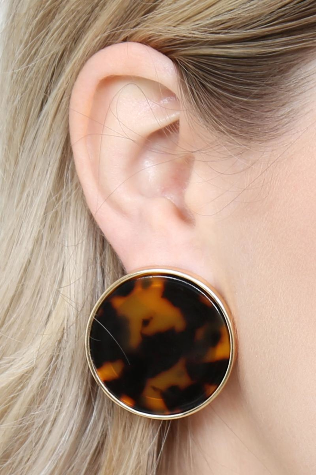 Riah Fashion Round-Framed Acetate Earrings - Back Cropped Image