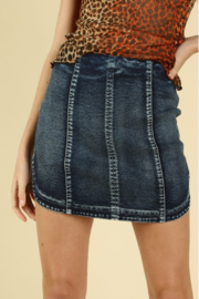 Wild Honey Round Hem Denim Skirt - Product Mini Image