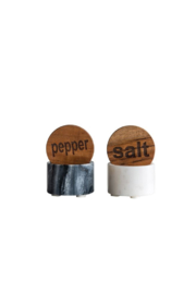 Creative Co-Op ROUND MARBLE SALT & PEPPER - Product Mini Image