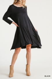 umgee  Round Neck 3/4 Sleeve Dress with Side Slits - Front full body
