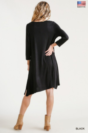umgee  Round Neck 3/4 Sleeve Dress with Side Slits - Other